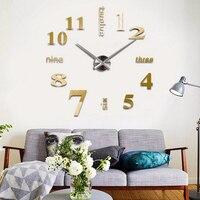 ที่ทันสมัยdiyขนาดใหญ่3dนาฬิกาแขวนกระจกพื้นผิวสติ๊กเกอร์ตกแต่งบ้านศิลปะการออกแบบผนังสติ๊กเ...