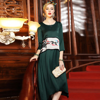 CL8052 Europe and United States Women Autumn Long Dress 100% Silk Dresses High end Autumn Clothes
