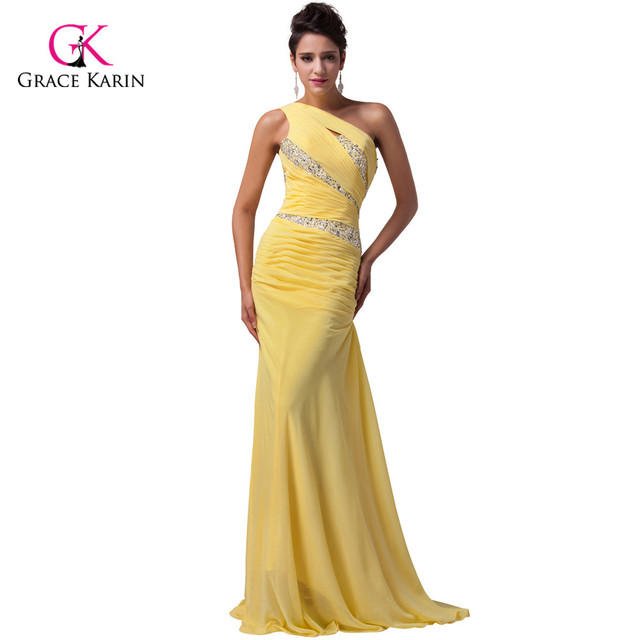 bd1449cdf09 Amazing Beading One shoulder Long yellow Mermaid Prom Dresses 2018 Floor  Length blue Grace Karin dresses vestido formatura 4971