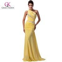 Incrível beading um ombro amarelo longo sereia vestidos de baile 2017 até o chão azul vestidos de grace karin vestido formatura 4971