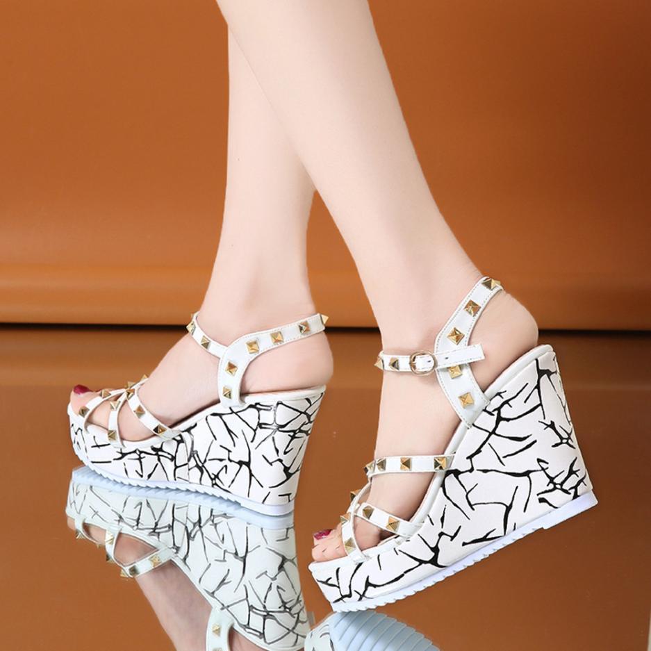 Summer Lady Fashion Wedge High Heels Sandals Elegant Rivets Women Heels Fashion Platform High Heels Wedge Sandals Female Shoes 19