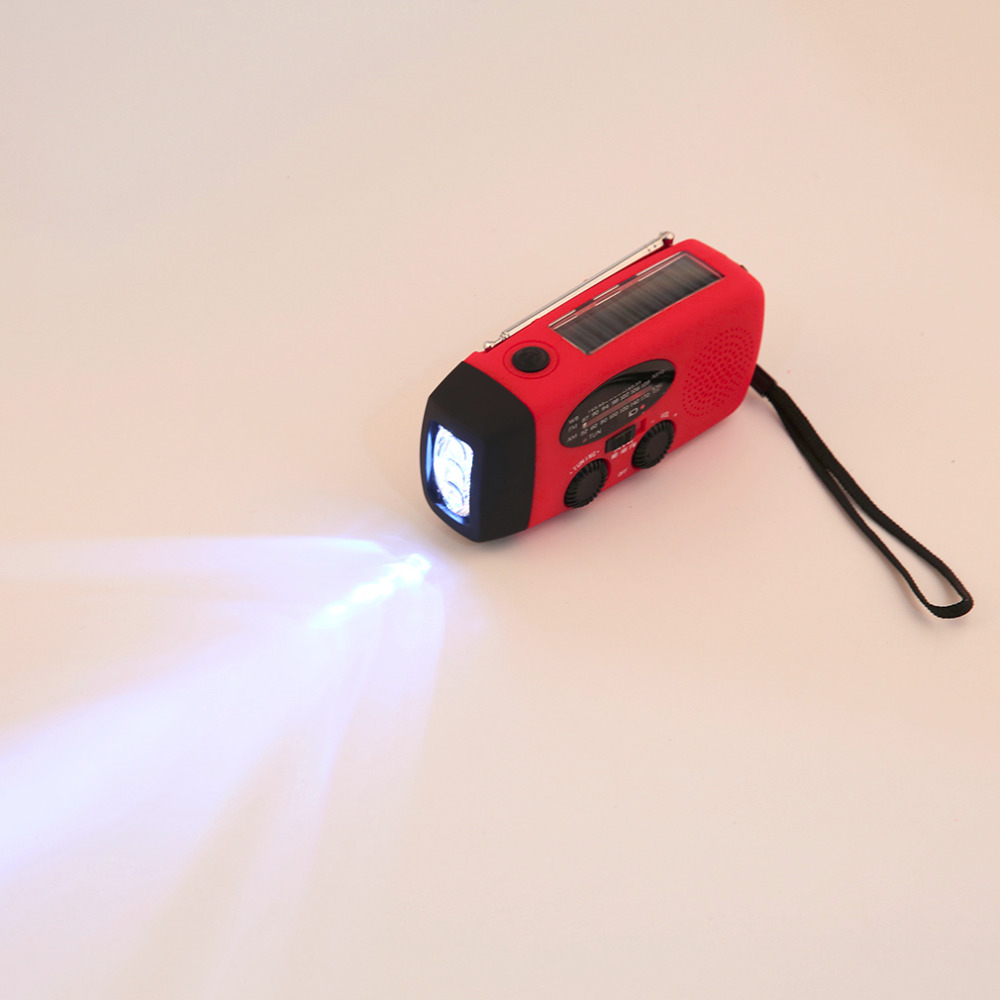 Emergency Solar hand crank flashlight electric torch dynamo bright 3 LED lighting lamp AM FM solar radio mid band radio in Radio from Consumer Electronics