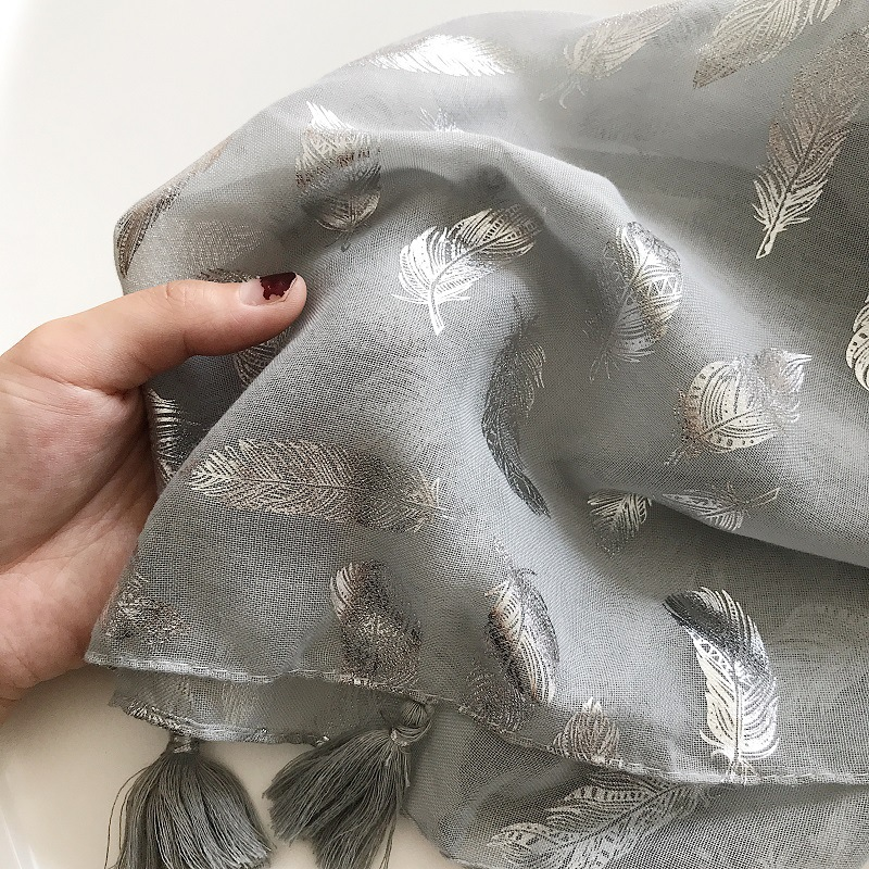 2018 New Fashion Silver Feather Foil Tassel Scarves Shawls Women Feather Print Tassel Wrap Muffler Hijab Wholesale 10pcs/lot