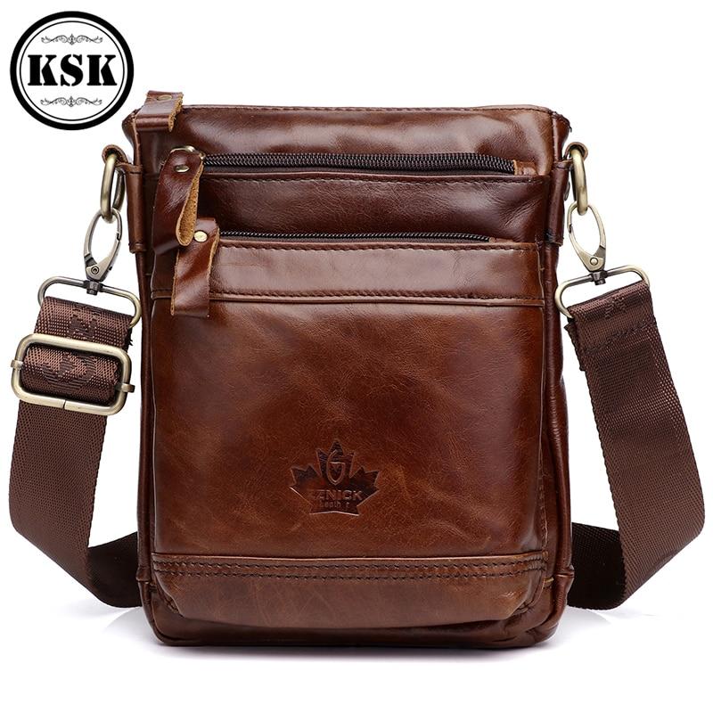 Men Genuine Leather Messenger Bag Handbag Shoulder 2019 Fashion Shoulder Bags Flap Zipper Crossbody Leather Bag KSK