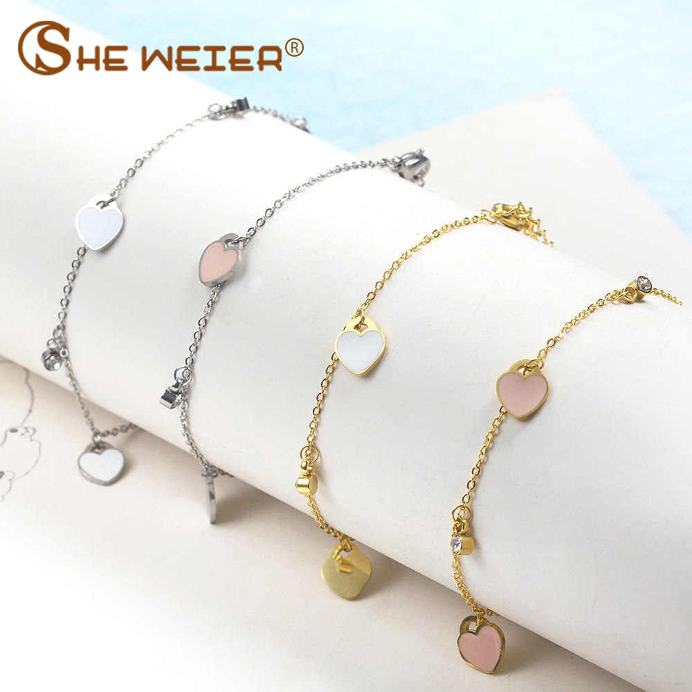 SHE WEIER charm chain link stainless steel  bracelets bangles for women friendship braclet hand chain female girls jewelry heart