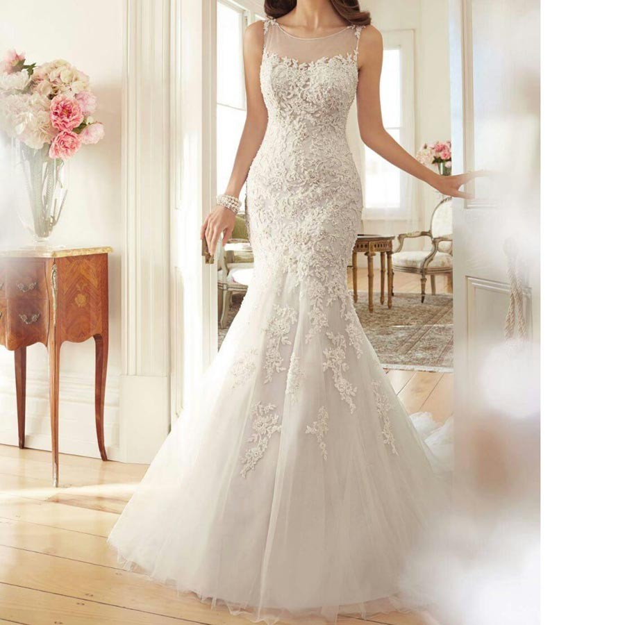 2017 Mermaid Wedding Dresses Appliques Lace Crystal Beaded Wedding Gown Scoop Tulle Wedding Dress vintage vestidos de novia (1)