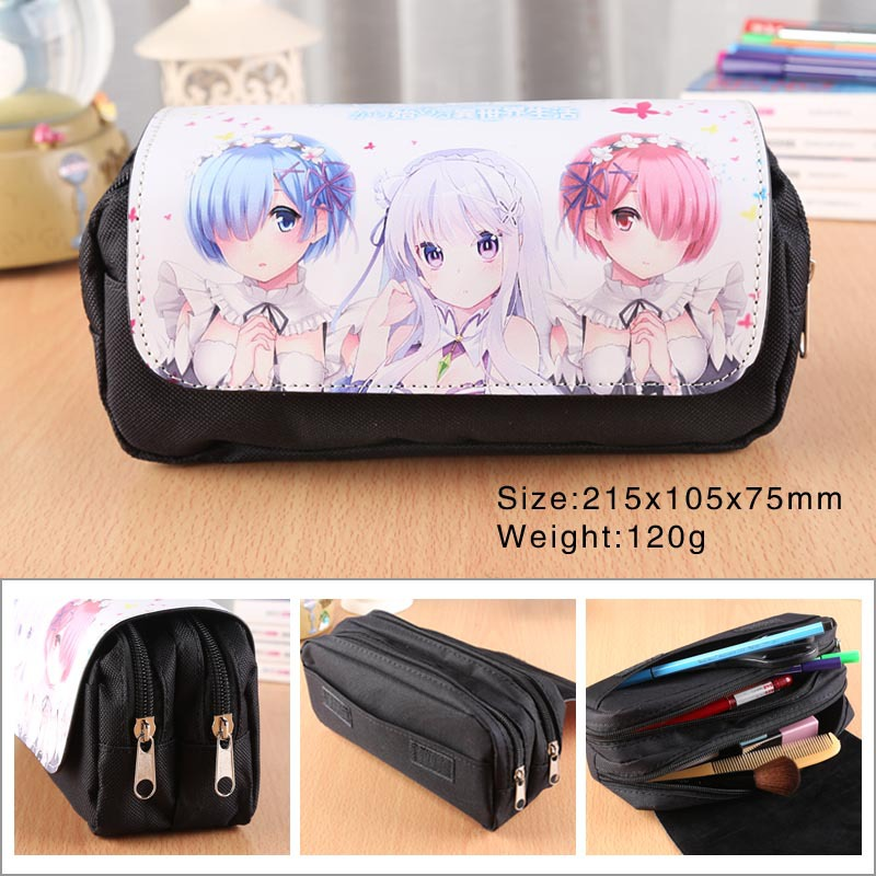 Re:Zero Kara Hajimeru Isekai Seikatsu Anime Pencil Bag Double Zipper Flip Cover Pencil Case Pen Bags School Supplies Creative
