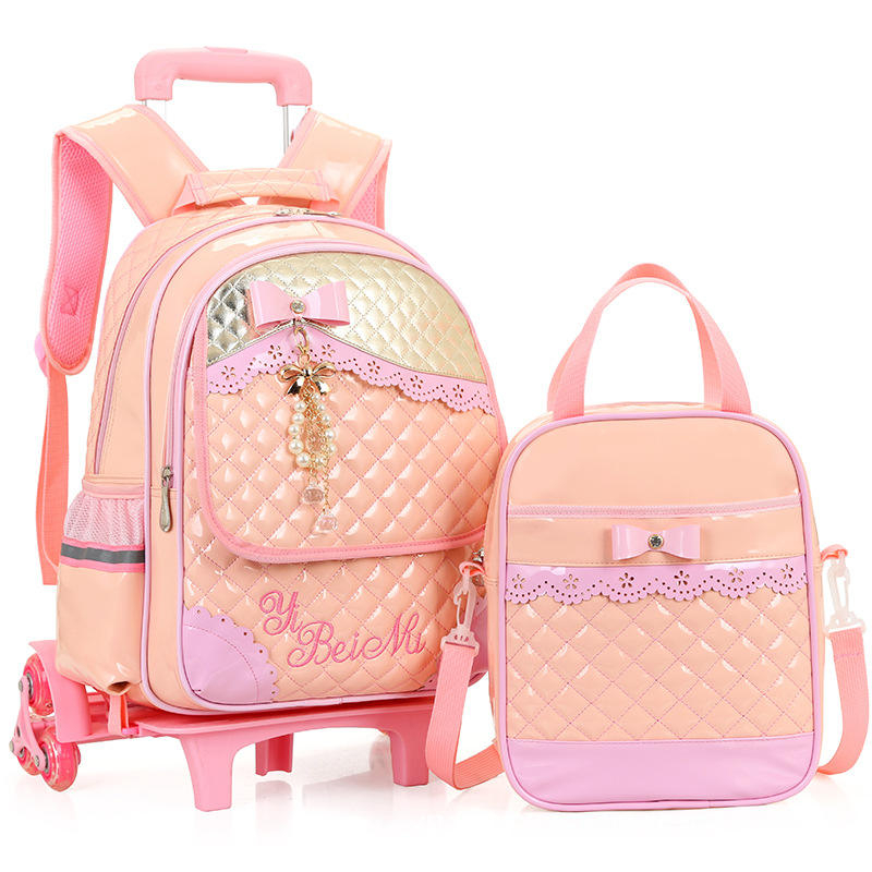 Sweet Princess backpack Trolley School Bag Set for Girls PU Leather Waterproof 3 Wheeled Backpack bow Ruffles Remmovable Bag