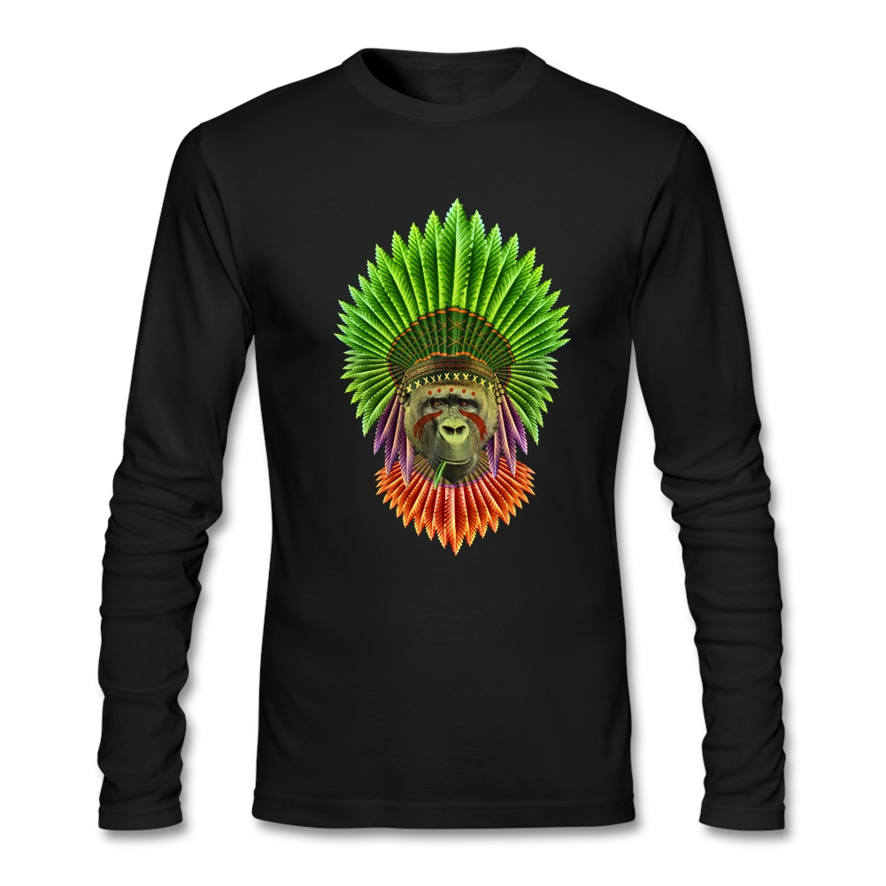 Delicate native <font><b>gorillas</b></font> Male's T-Shirt <font><b>Natural</b></font> Cotton Full-Sleeves Tees