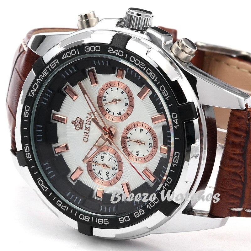 MG. ORKINA 45mm blanc boîtier hommes montres Quartz Casusal montre-bracelet café marron bracelet en cuir mâle horloge montre Relogio Masculino - 4
