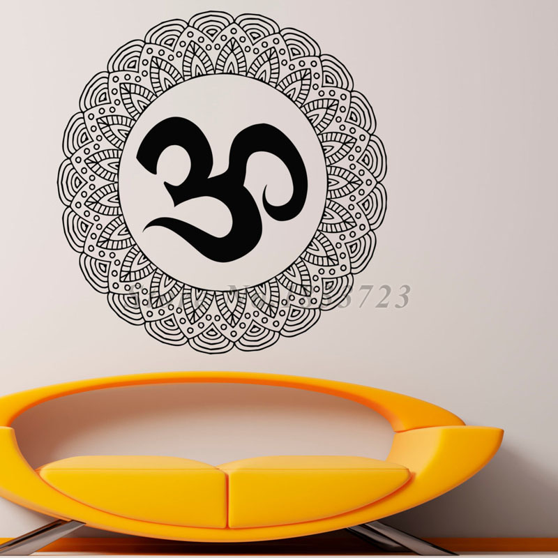 Vinyl Art Wall Stickers For Decoration Waterproof Mandalas Flower Indian Lotus Wall Decal Sticker