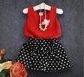 Moda white dot criança saias + tanque vermelho top meninas roupas de verão definido