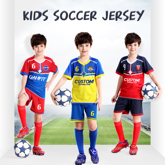 fd21742e075 USA Soccer kids Jerseys 2019 Jersey Custom Football Kids Uniforms Set for Boys  Team Training Shirts