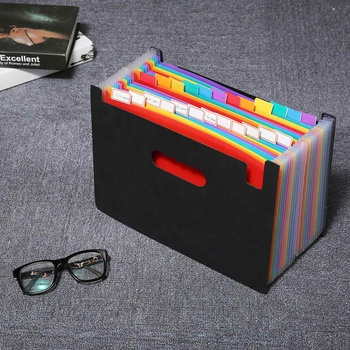 Expanding File Folder A4 Organizer Portable Rainbow Organ Business File Document Holder Storage Bag 24 Pockets 1