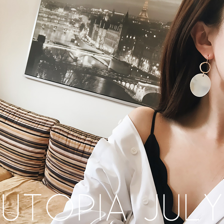 AOMU Korea New Design Pearl Matte Metal Geometric Big Round Circle Shell Long Drop Earrings For Women Beach Boho Jewelry 2