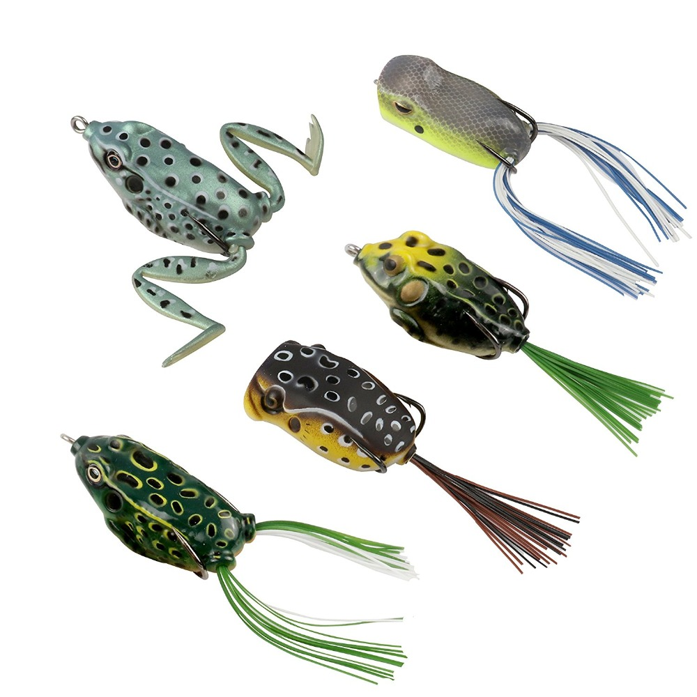 RUNCL Topwater Frog Lures , Soft Fishing Lure Kit with ...