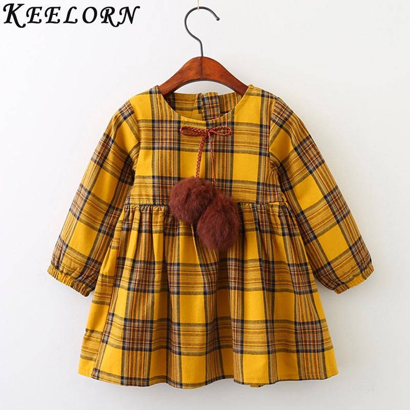 Keelorn Girls Dress Autumn Winter Brand Girl Clothes Plaid Fur Ball Bow New Design Baby Girls Dress Girls Casual Dresses Kids brand kids girls dress autumn winter