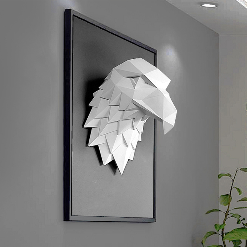 3D Eagle Head Statue Home Decoration Accessories Animal Abstract Sculpture Wall Hang Decor Statue Living Room Mural Art Craft