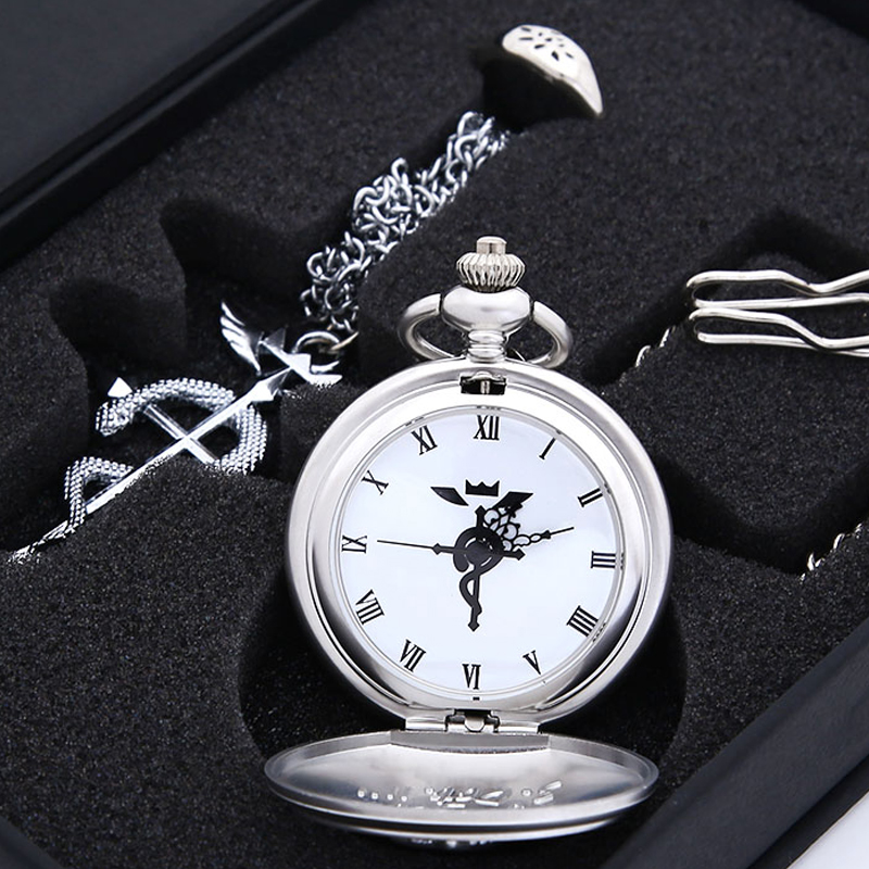 HOT Anime Stainless Steel Pendant Fullmetal Alchemist Pocket Watch with Necklace & Ring Set Cosplay Costume Props