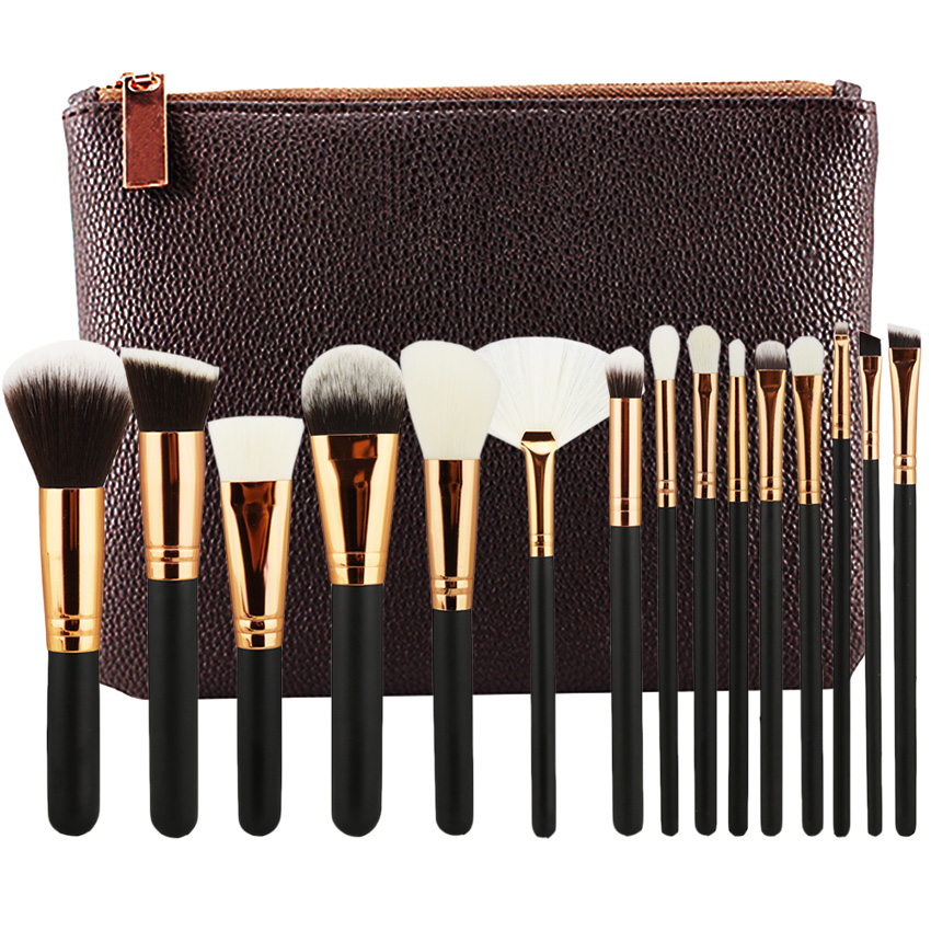 HOT BRAND 8 12 15 PCS ROSE GOLDEN COMPLETE MAKEUP BRUSH SET Professional Luxury Set Make