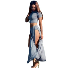 2018 Hot Lo Shi Split Strapless Sexy Two Piece Ankle-Length Short Sleeve Sexy Party Package Hip Club Casual Dress(China)