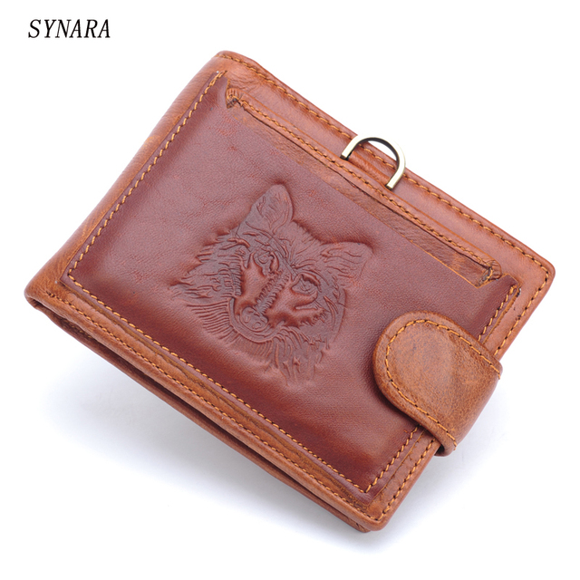 Men's classic Vintage Real Leather Purse with Coin Pocket Raw and Natural Crazy Horse Cowhide Genuine Leather Wallet for Men