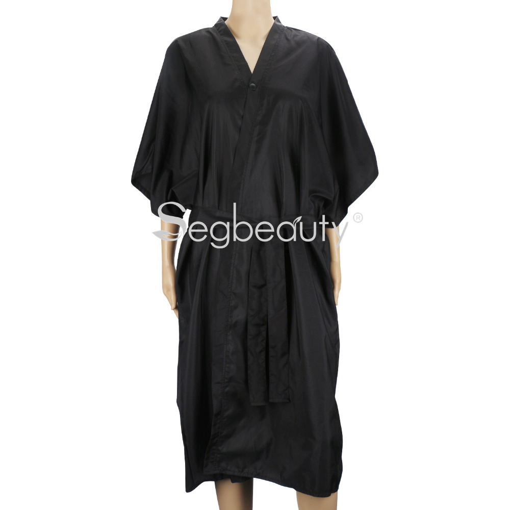 цена на Spa Massage Robe for Salon Beauty, Kimono Robe for Women, Black Smock Cape Dress on Hair Dye Shampoo Makeup Client Apparel