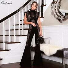 Bandage Jumpsuit Ocstrade Black Turtleneck Sexy Summer Sleeveless Lace Rayon New-Arrival