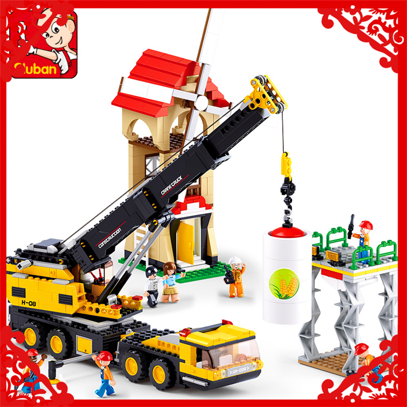 767Pcs Engineering Crane Vehicles Model Building Block Toys SLUBAN 0553 Educational Figure Gift For Children Compatible Legoe kazi 8043 191pcs city series engineering truck model building block educational figure toys for children compatible legoe
