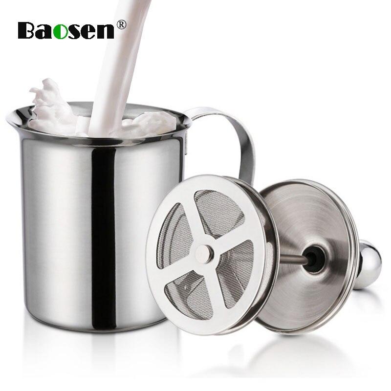 Baosen 800ml Double Mesh Milk Creamer Stainless Steel Milk Frother for Cappuccino Milk Jugs Egg Beater