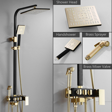 Golden Shower Faucet Bathroom Rozin Black Cold-Mixer Brass Rainfall Hot Tap