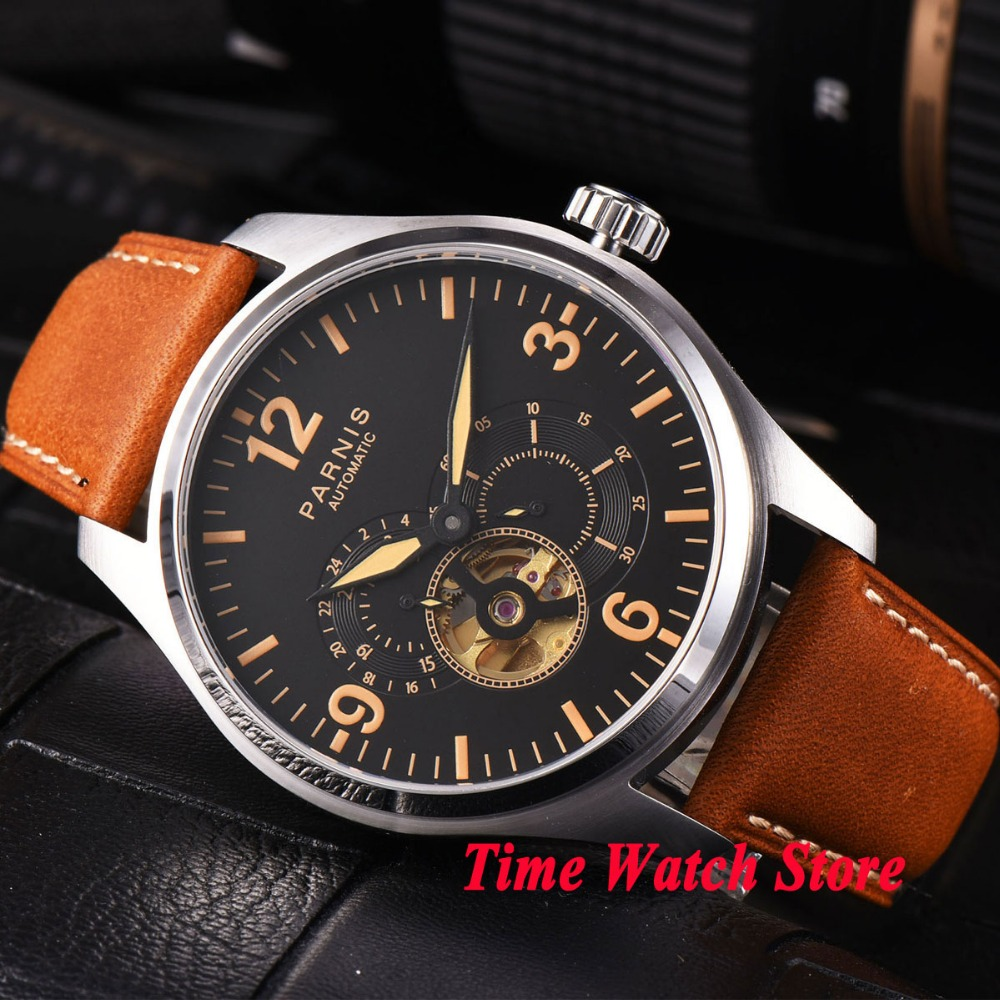 44mm Parnis black dial sapphire glass orange marks luminous MIYOTA Automatic movement men's watch men 817 44mm planca black dial luminous 24 hours miyota automatic movement men s watch men pl1