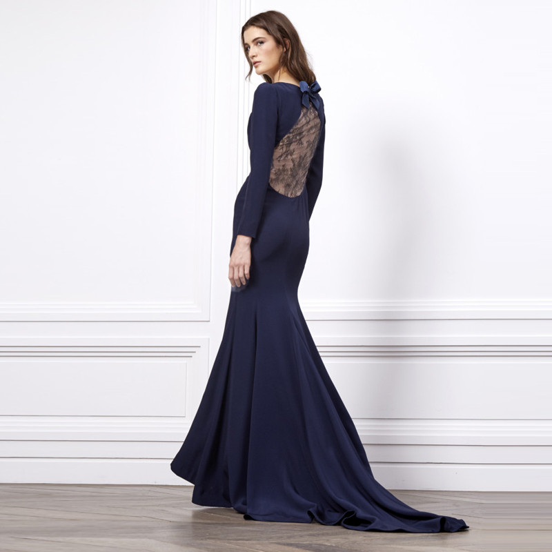 Dark Blue Evening Dresses Floor Length Scalloped Neck Long Sleeve Evening  Gowns Sweep Train Mermaid Stain Formal Evening Dresses-in Evening Dresses  from ... dc5dcc71d22d