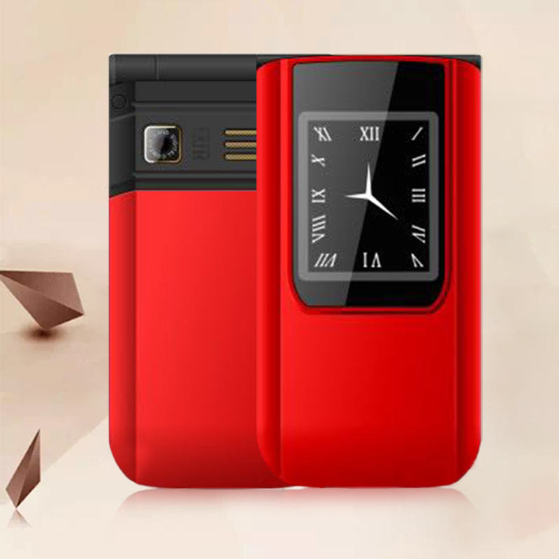 Unlock Flip Slim Touch Dual Display Senior Telephone For Elders Two Sim Camera P047