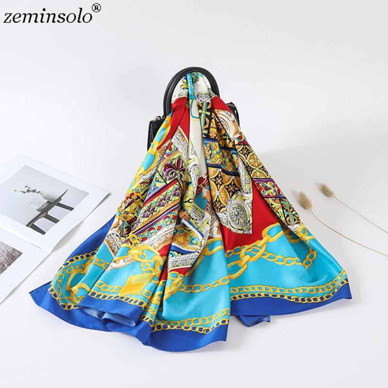 2019 New Square Women Scarves Wraps Shawls Chain Printed 100% Silk Scarf Bandana Fashion Foulard Hijab Scarf Wholesale 130*130cm