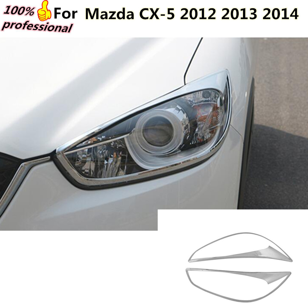 car body front head Light lamp hood Molding frame stick styling ABS Chrome cover trim 2pcs for Mazda CX-5 CX5 2012 2013 2014