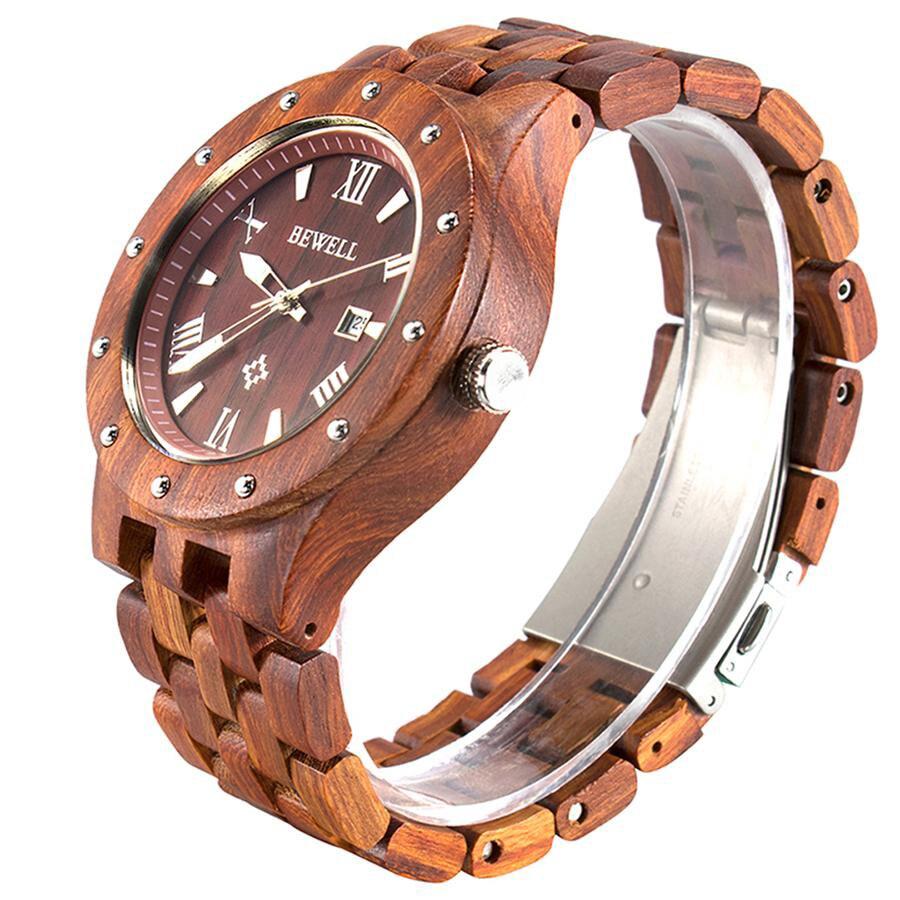 2018 nouveau naturel sandale bois montre hommes analogique japonais Quartz mouvement montres en bois Date affichage robe montre-bracelet pour homme 109A
