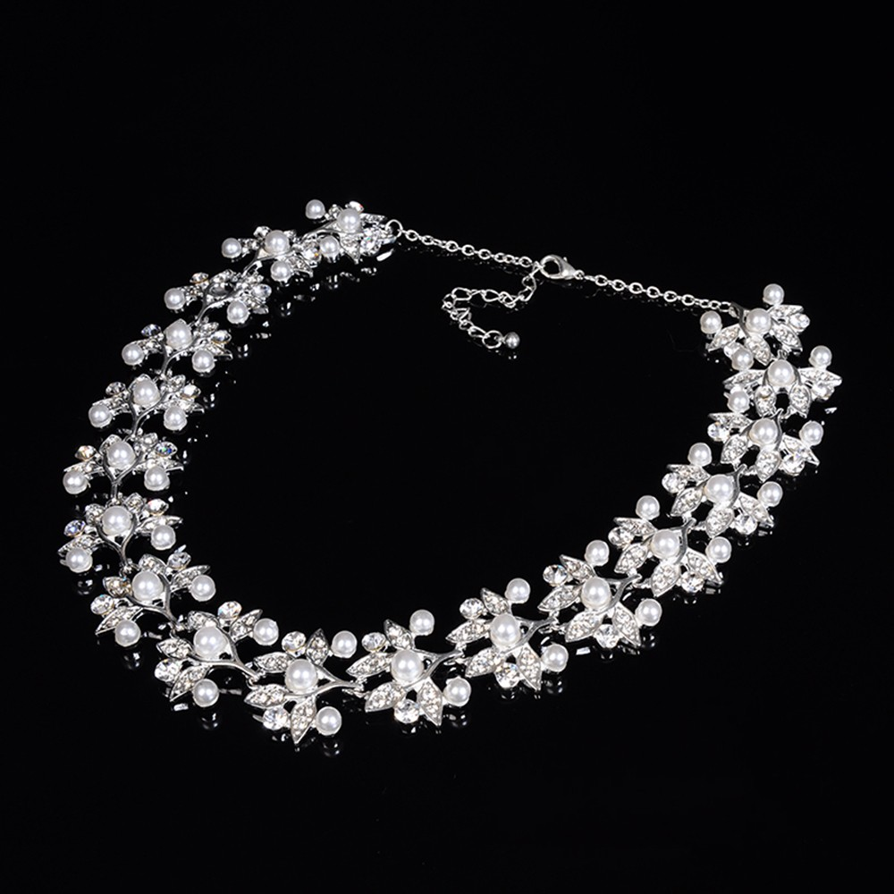 leaf flower links chain pearl necklace for women bridal jewelry set party silver plated wedding accessories opal jewels D032 (6)
