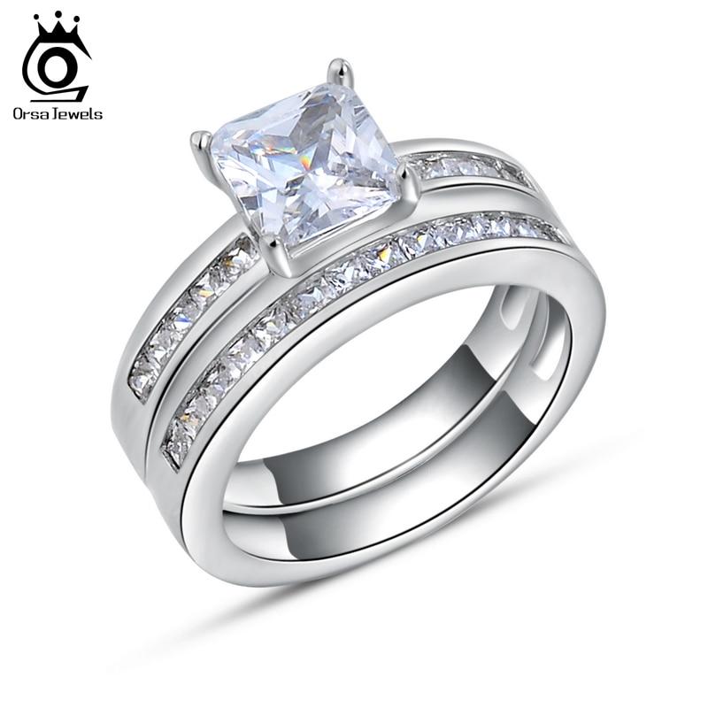 ORSA JEWELS Luxus 1ct tér kristály menyasszonyi szettek Esküvői és eljegyzési ezüst színű gyűrűk női romantikus cirkon ékszerek OR28