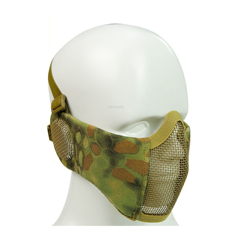 Outdoor Sport Military Tactical Airsoft Mask Metal Steel Mesh Half Face Mask With Ear Protection
