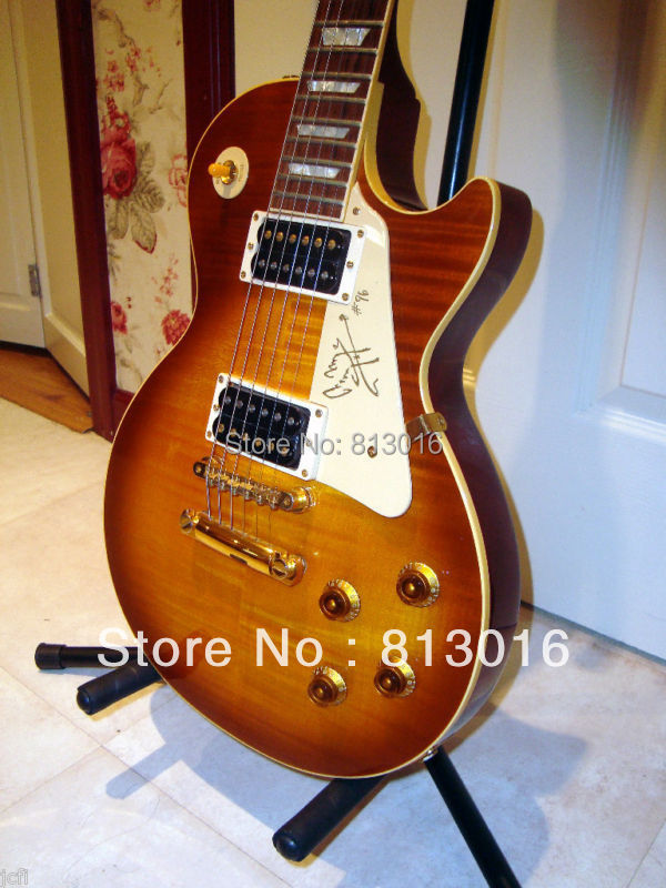 CUSTOMISED guitar 2010  guitar wholesale guitar Solid mahogany flame cherry burst  In stock!!! (Free shipping) 2017new chinese factory 34 guitar travel guitar solid spruce above mahogany on the back and side free shipping