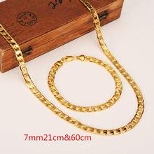 600mm 21mm Bayan Erkek Zinciri 14 k Altın GF Zincir gem zinciri Sarı Katı Altın KAPLAMA Kolye Bilezik Zinciri takı setleri