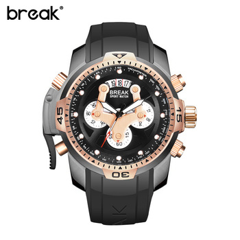 BREAK Mens Watches Top Brand Luxury Chronograph Men Watch Leather Luxury Waterproof Sport Watch Men Male Clock Man Wristwatch luxury leather gift box pacific angel shark sport watch 24hrs chronograph luminous steel water resistant men watches sh315 319