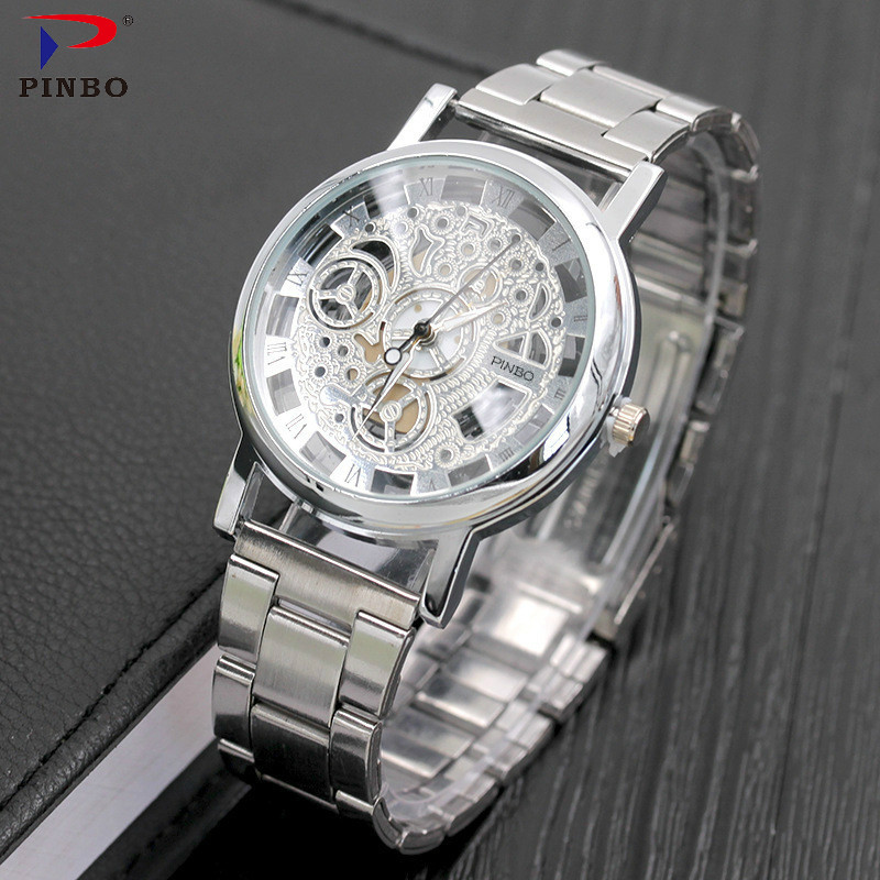2017 New Brand Luxury Fashion Casual Stainless Steel Men Skeleton Watch Women Dress Wristwatch Hollow Quartz Watches Men colck new arrival 2015 brand quartz men casual watches v6 wristwatch stainless steel clock fashion hours affordable gift