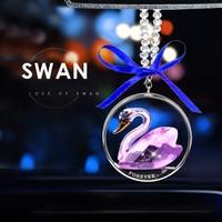 Car Rear View Mirror Charm Crystal Swan Hanging Ornament Rhinestone Interior Decor Crystal Swan Lucky Charm Pendant Women
