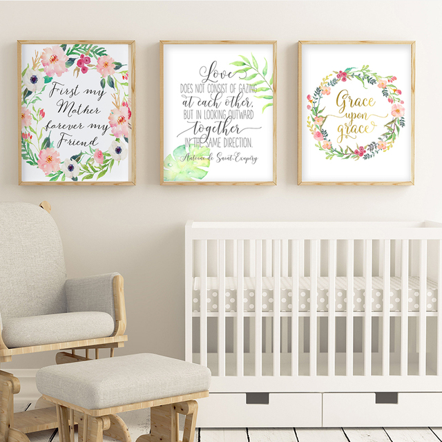 Cute Watercolor Quotes Canvas Art Blush Pink Wall Art Decor Baby ...