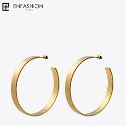 Enfashion Vintage Big Hoop Earrings Matte Gold color Earings Stainless Steel Circle Earrings For Women Jewelry Wholesale 171026