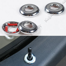 4Pcs ABS Chrome Silver Door Lifting Bolt Lock Pin Pins Cover Trim Stickers Ring Frame Decal