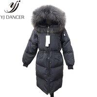 2018 зимние женские Модные Костюмы Утепленная одежда Высокое качество длинная куртка с секциями енота меховой воротник Для женщин пуховик па