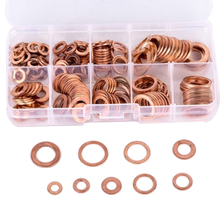 200pcs M5-M14 Box-packed Durable Copper Hardware Oil Seal Fitting Ring Seal Gasket Set Washer Flat Washer Fastener